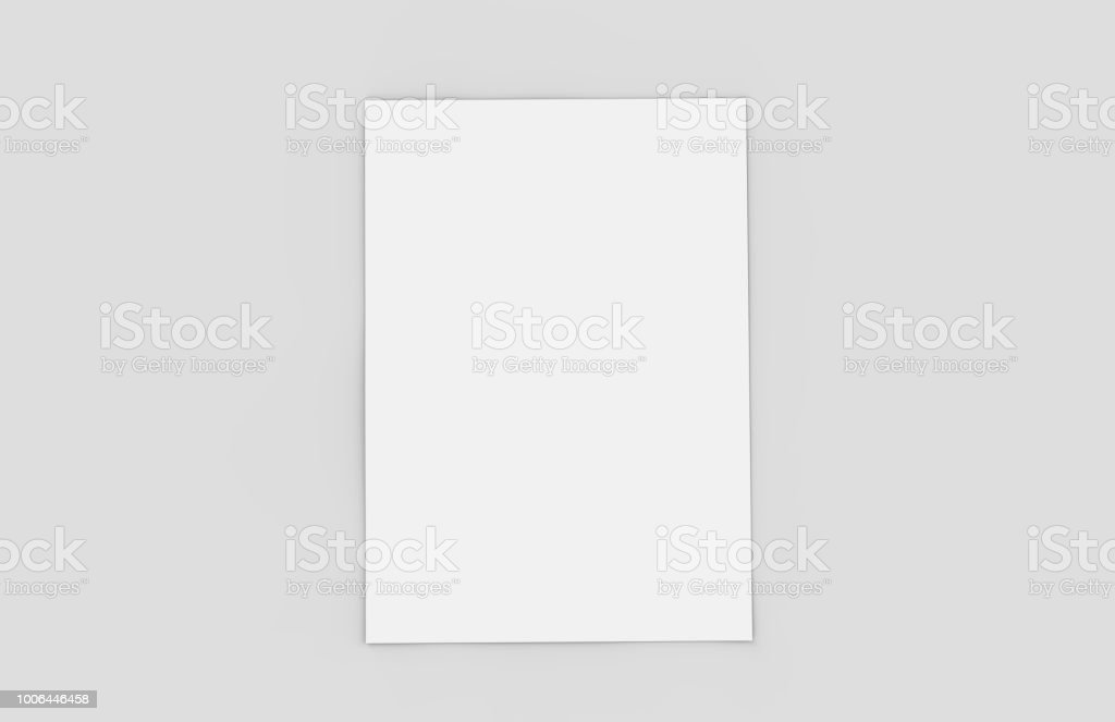 A4 paper on isolated white background, mock up template ready for your design, 3d illustration stock photo