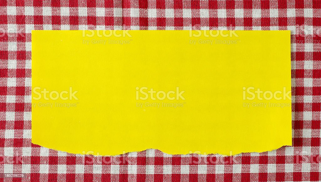 Paper on red tablecloth royalty-free stock photo