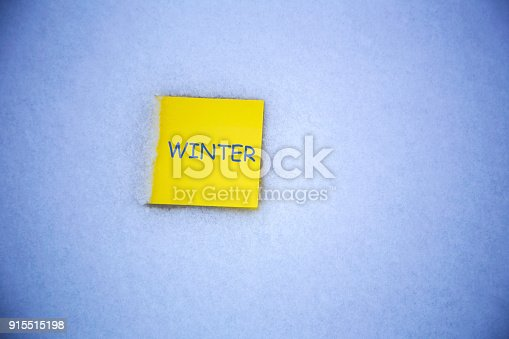 istock paper on the snow background 915515198