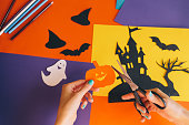 istock paper orange pumpkin on the background Halloween composition 612850906