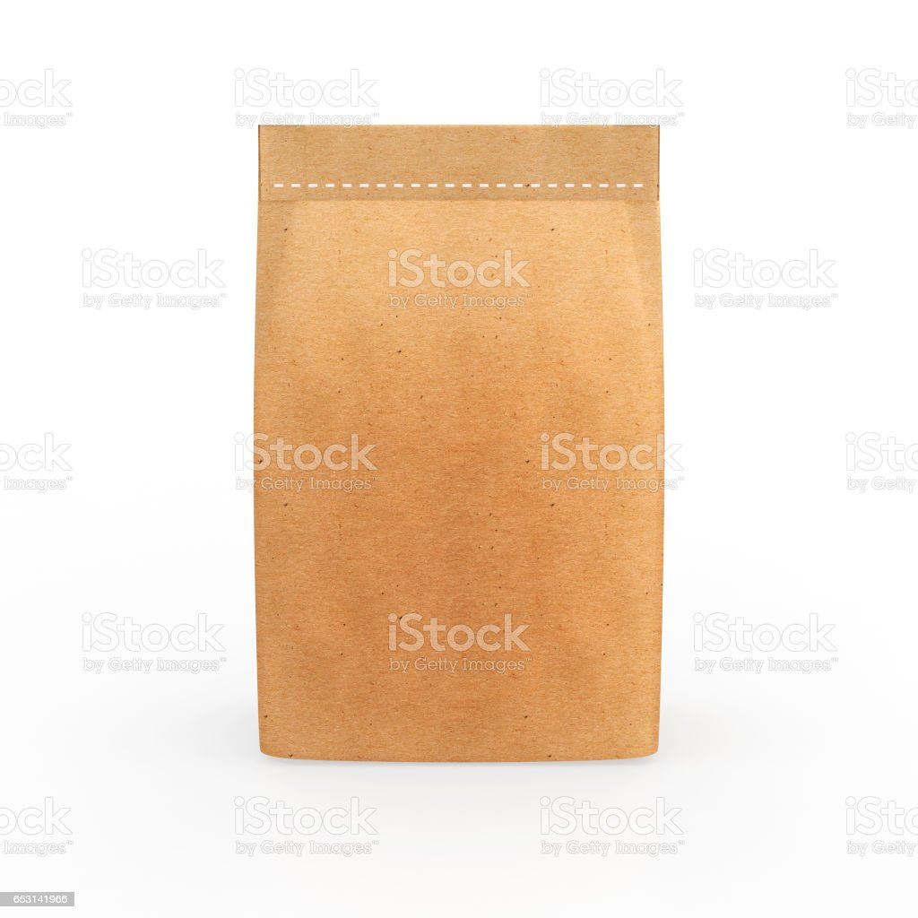 Paper package isolated on a white background stock photo