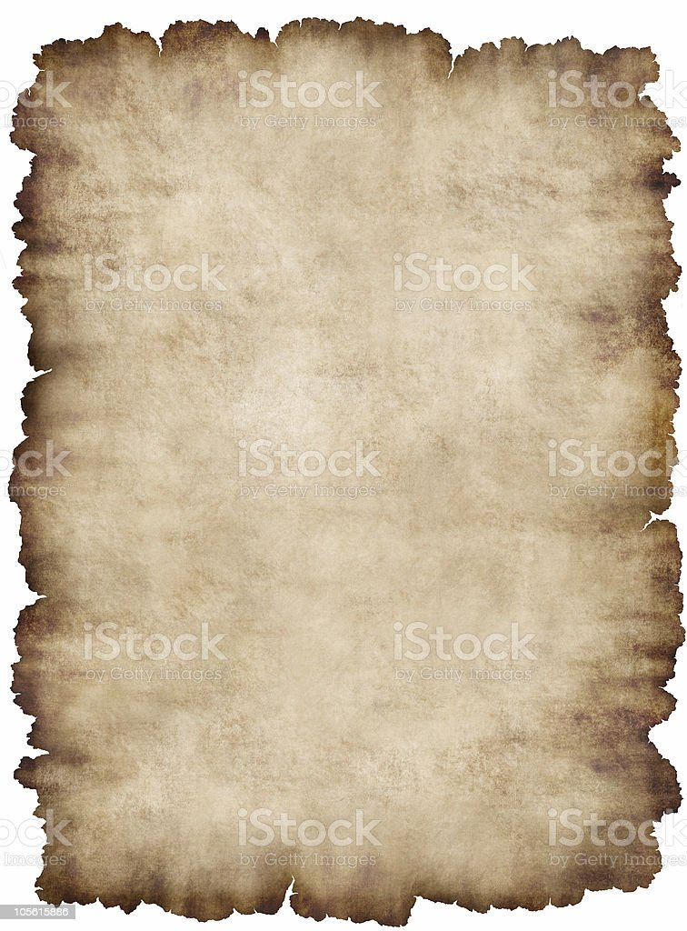 Paper page piece of parchment texture background isolated white royalty-free stock photo