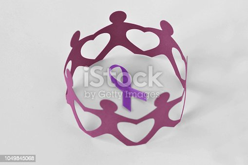 istock Paper people in a circle around violet ribbon on white background - Concept of Domestic Violence awareness; Alzheimer's disease, Pancreatic cancer, Epilepsy awareness and Hodgkin's Lymphoma 1049845068