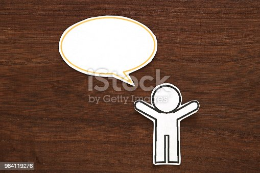 istock Paper person with colorful blank dialog speech bubble.  Communication concept. 964119276