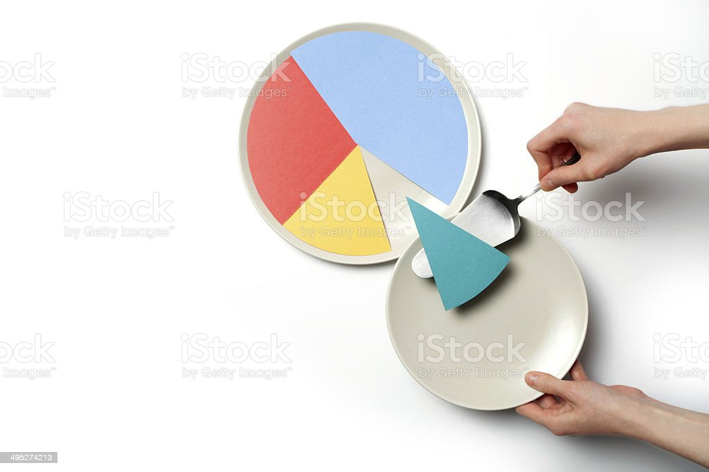 Paper pie chart on a plate stock photo