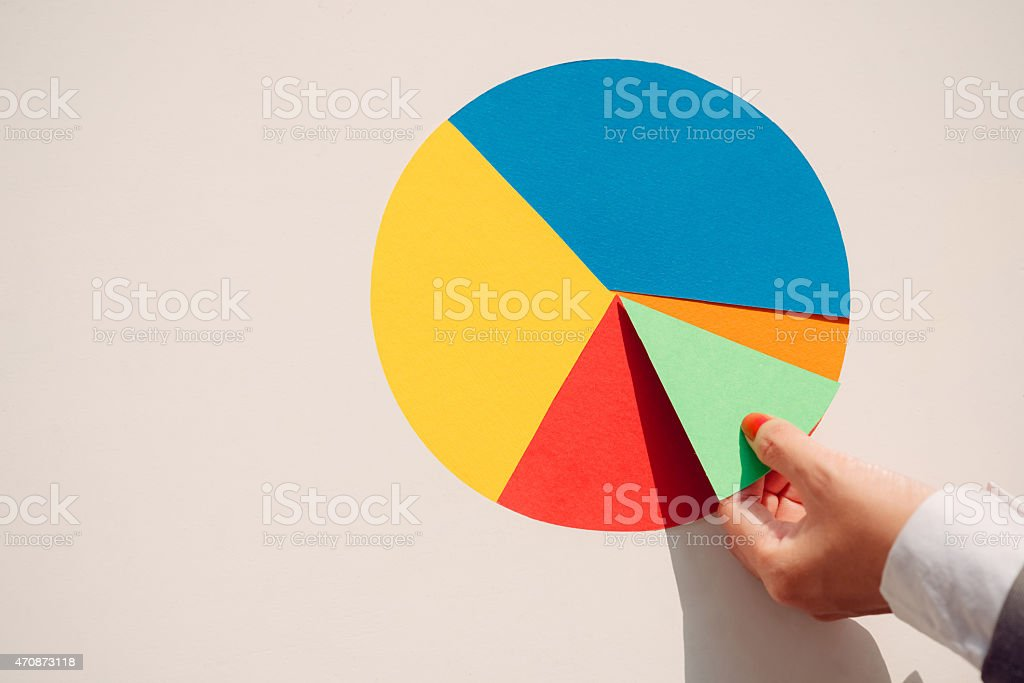 Paper pie chart stock photo