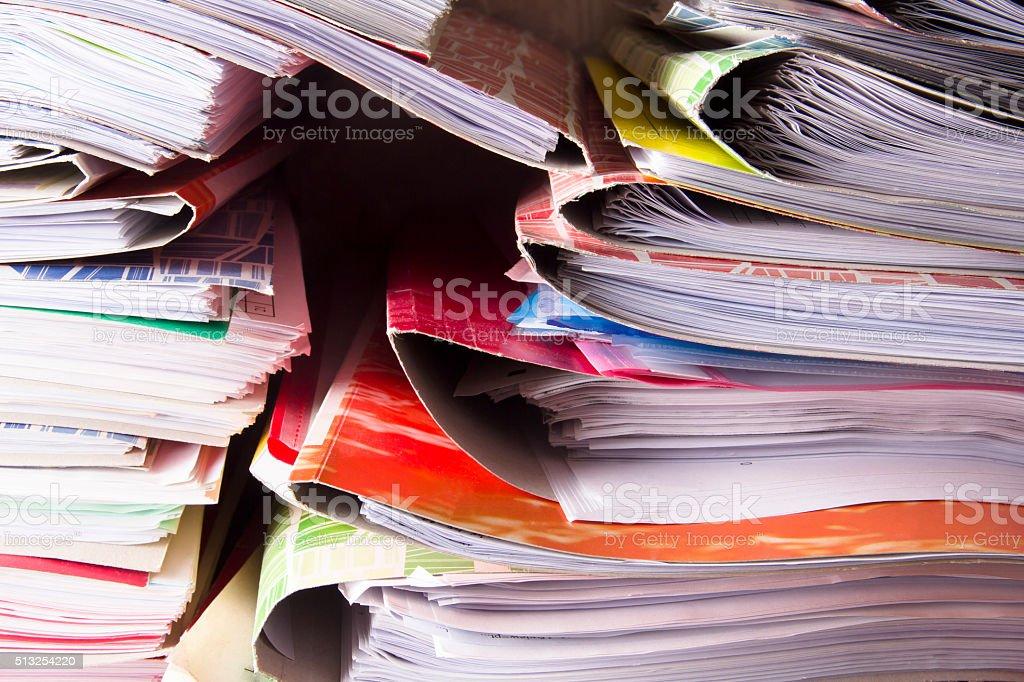 Paper pile stock photo