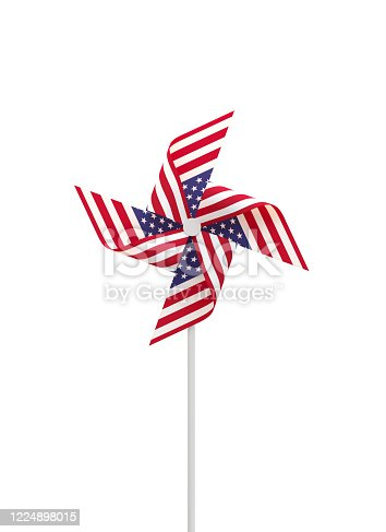 istock Paper Pinwheel  Textured with American Flag on White Background 1224898015