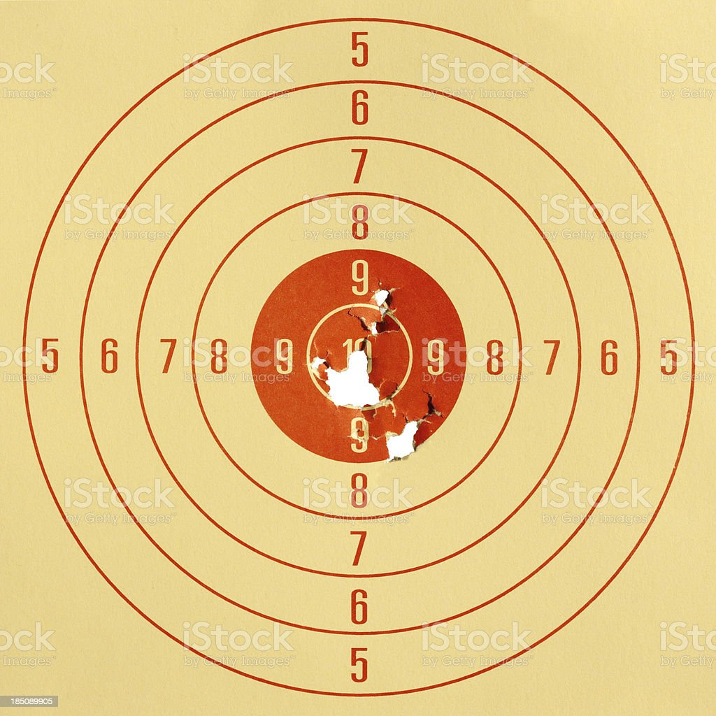 Paper pistol target. stock photo