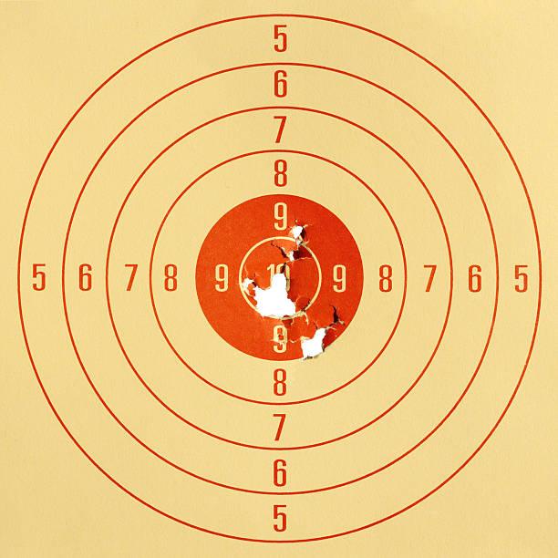 paper pistol target. - gun shooting stockfoto's en -beelden