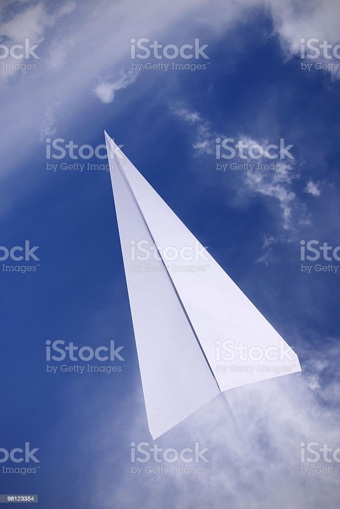 paper plane flying royalty-free stock photo