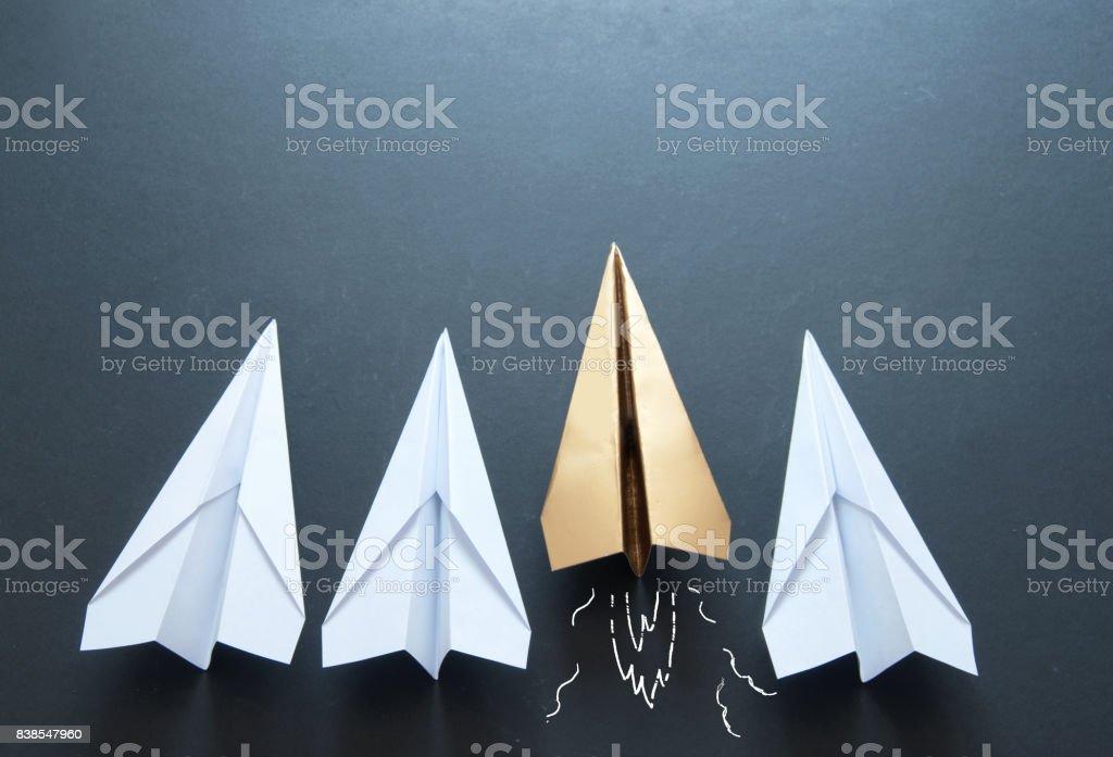 Paper plane leadership concept stock photo