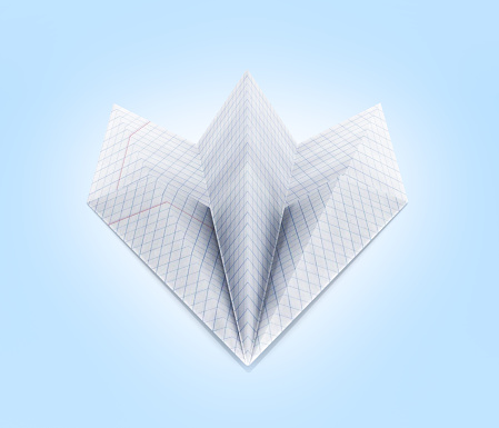 istock paper plane made with graph paper on blue gradient background front view 3d 677826332