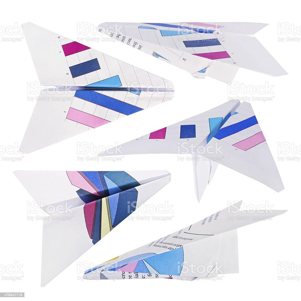 Paper plane set isolated on white royalty-free stock photo