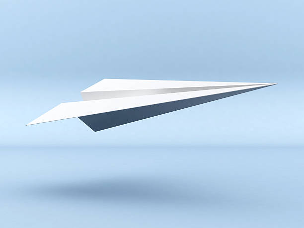 3D Paper Plane take off stock photo