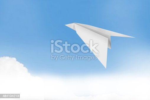 istock paper plane with blue sky background 484104213