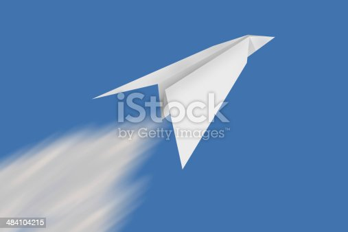 istock paper plane with blue sky background 484104215