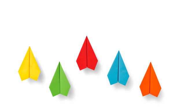 Paper planes on white background stock photo