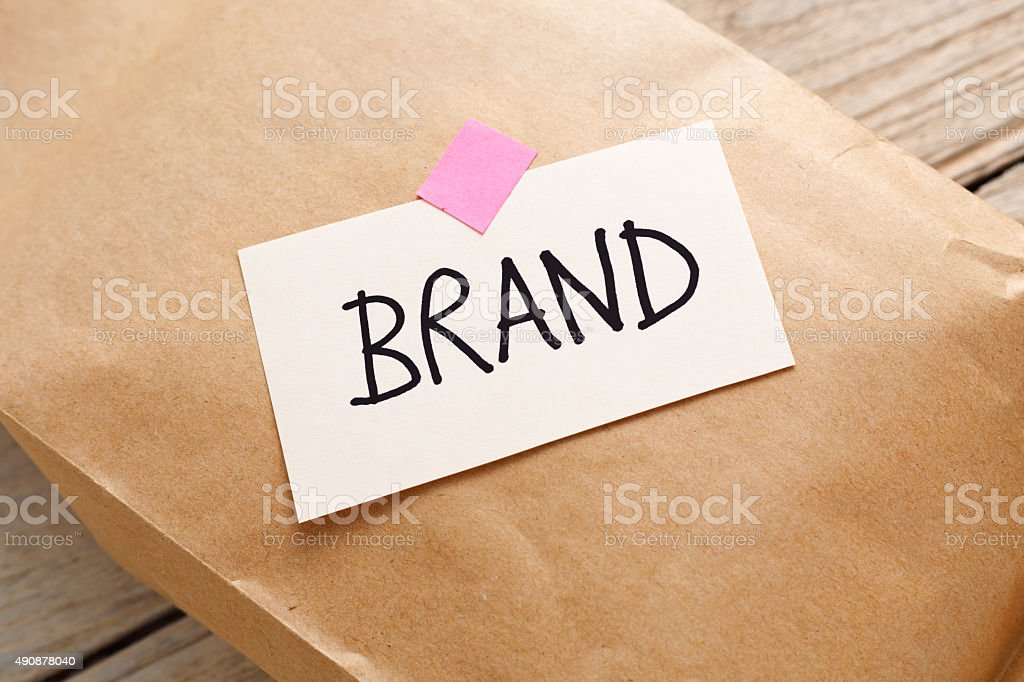 Paper product package with brand concept stock photo