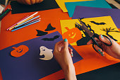 istock paper pumpkin on the background Halloween composition 612851006