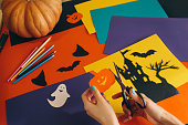 istock paper pumpkin on the background Halloween decorations 612854042