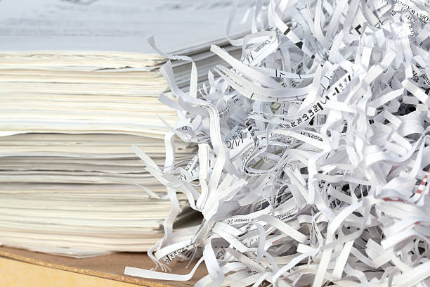 paper recycling - shredded paper stock photos and pictures