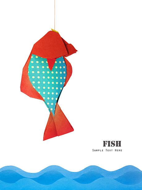 papier rot blau fisch - origami mobil stock-fotos und bilder