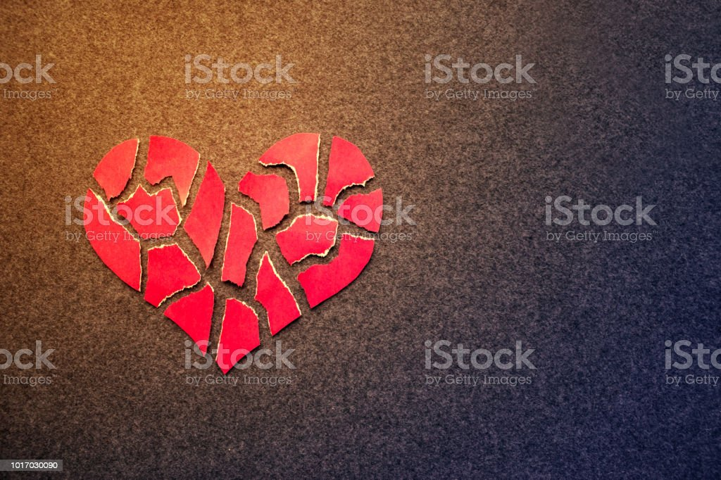 Paper Red Broken Heart On Dark Felt Background Mosaic Paper Heart