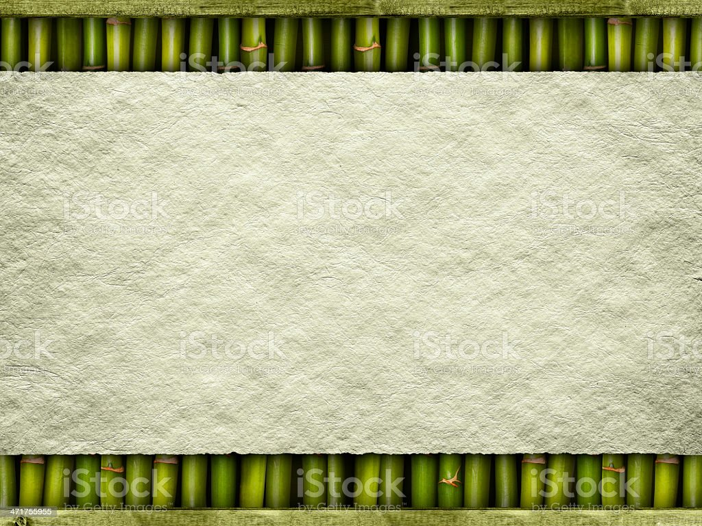 Paper sheet on bamboo background royalty-free stock photo