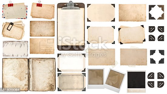 istock Paper sheets, book, old photo frames corners, clipboard 513059364