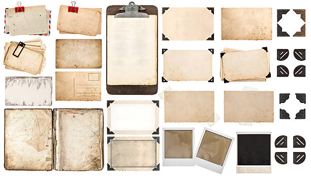 paper sheets, book, old photo frames corners, clipboard - vintage stock photos and pictures
