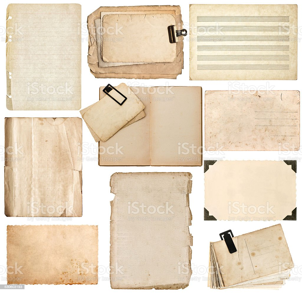 paper sheets, book pages, cardboard, photo frame with corner stock photo