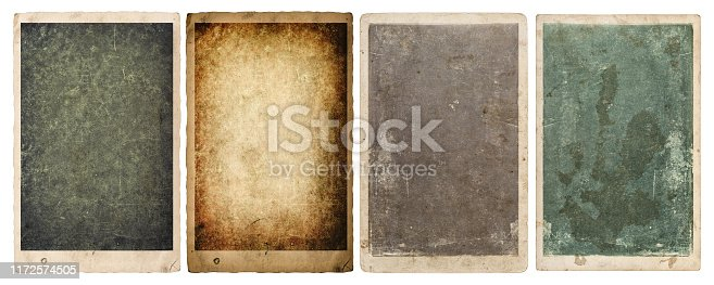 Paper sheets and photo frames with edges isolated on white background