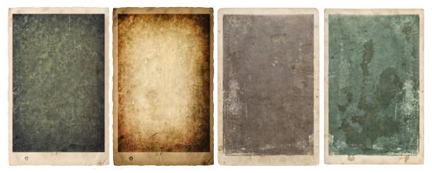 hojas de papel marcos de fotos bordes de fondo blanco aislado - anticuado fotografías e imágenes de stock
