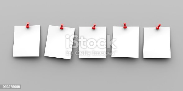 Five blank white paper sheets with red pins on grey background, three-dimensional rendering, 3D illustration