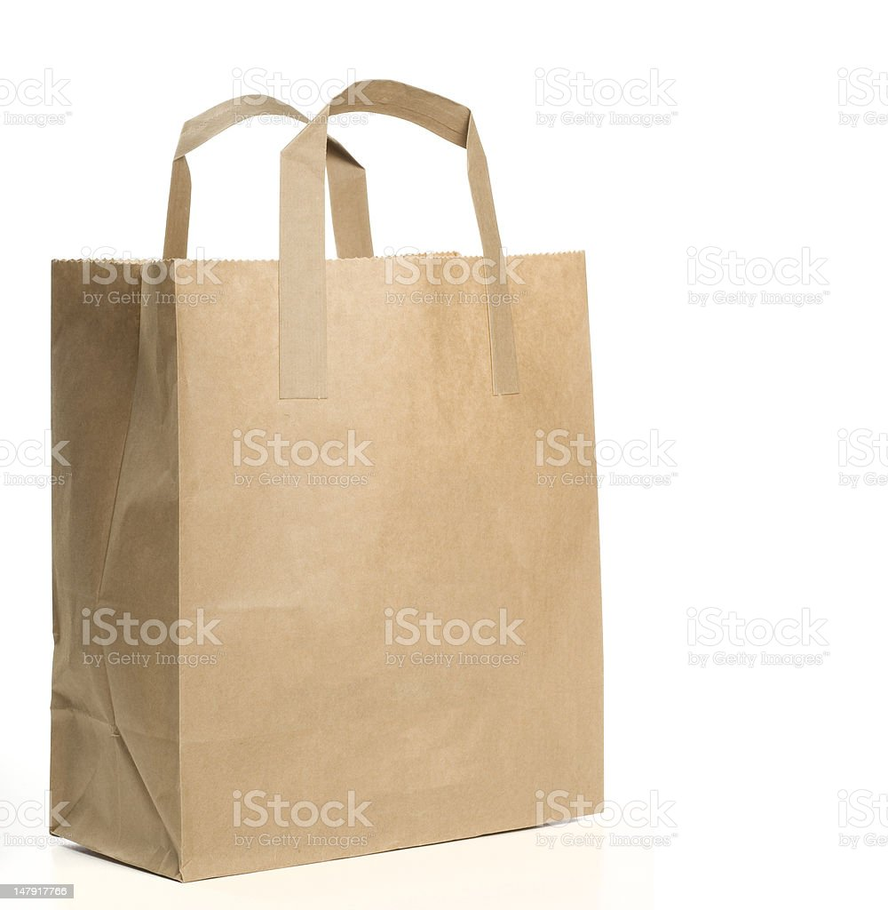 Paper Shopping Bag on white background stock photo