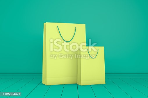 istock 3D Paper Shopping Bags, Minimal Design 1135364471