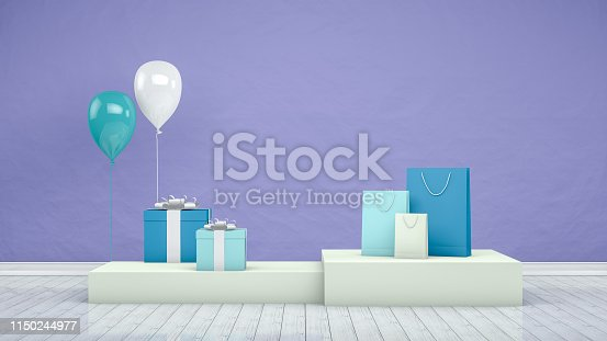 istock 3D Paper Shopping Bags with Product Platform, Podium, Minimal Design 1150244977