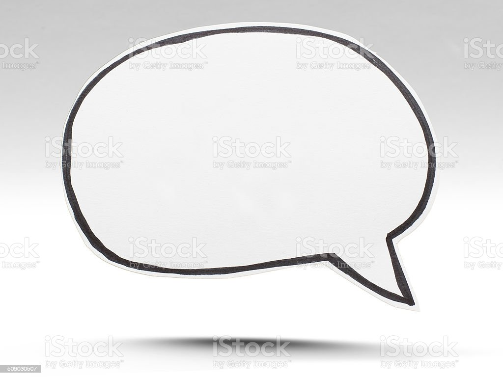 Paper speech bubble isolated on white stock photo