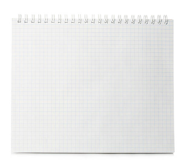 Paper spiral notebook close-up isolated on a white background. stock photo