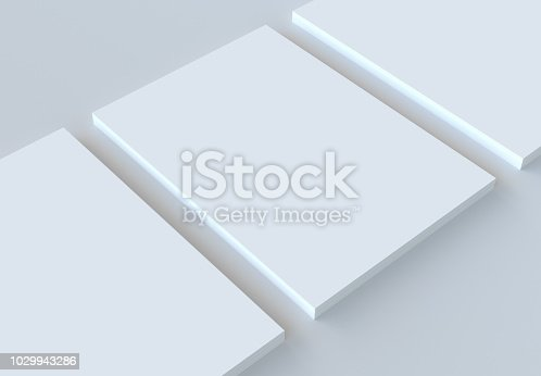 istock A4 paper stack mockup. 3d rendering. 1029943286