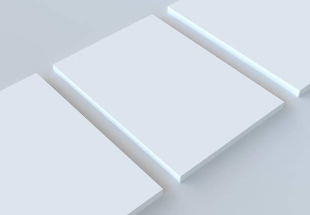 a4 papier stapel mockup. 3d-rendering. - magazine mockup stockfoto's en -beelden
