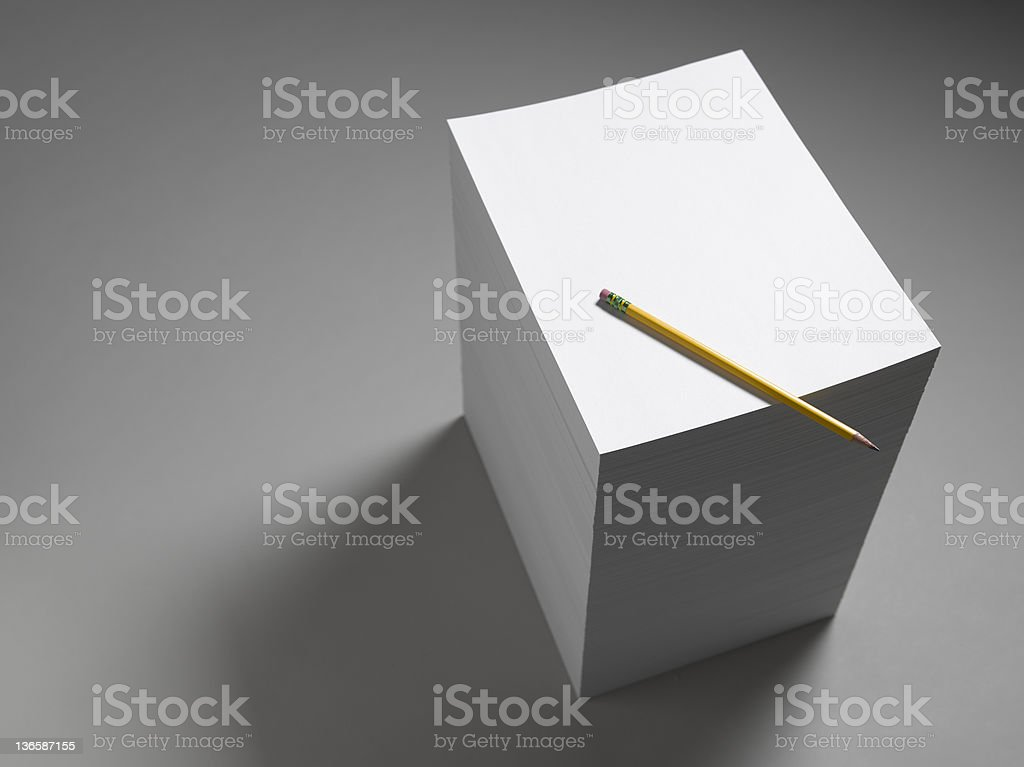Paper Stack With Pencil royalty-free stock photo