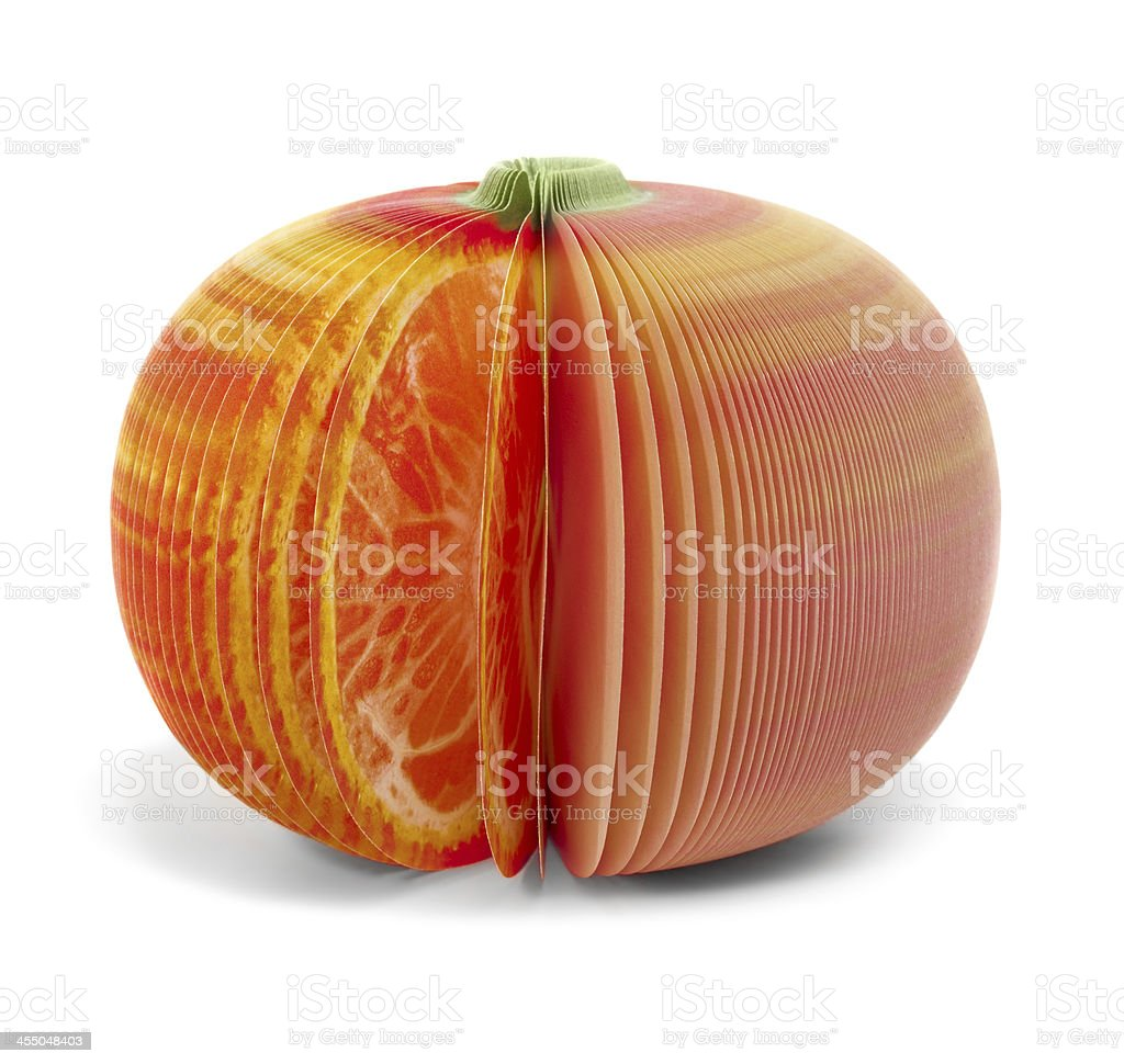 paper stick note grapefruit mandarine isolated stock photo