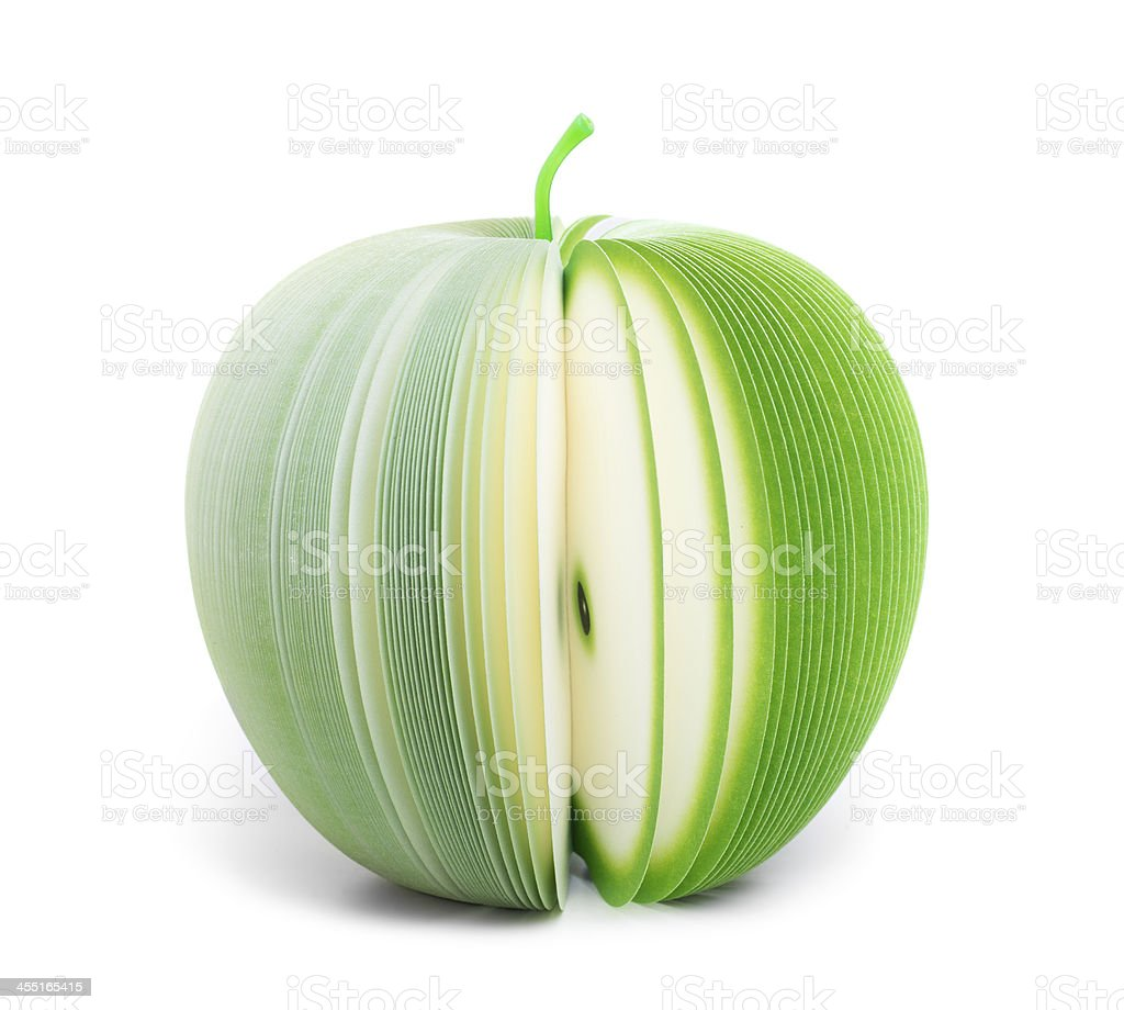 paper stick note green apple isolated stock photo