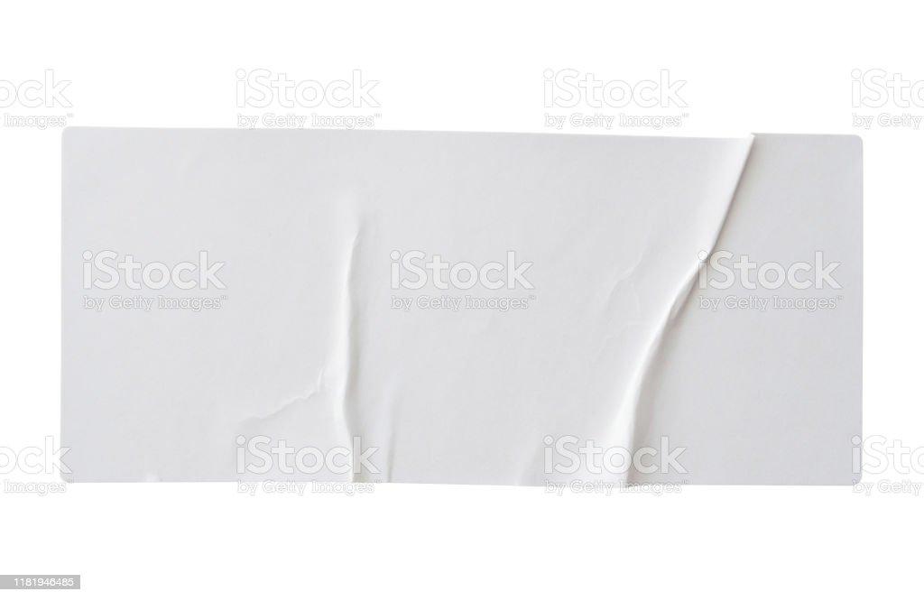 Papieraufkleber-Etikett isoliert auf weißem Hintergrund - Lizenzfrei Aufkleber Stock-Foto