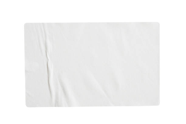 papieraufkleber-etikett isoliert auf weißem hintergrund - aufkleber stock-fotos und bilder