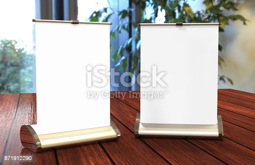 istock A4 A3 PVC PP paper Table Top Set Stand Mini Roll Up Banner,Pull Up Banner Standee Banner Stand,Table Banner Stand,Banner Stands Product. 3d render illustration 871912290