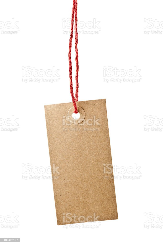 Paper Tag Hanging From Red String stock photo
