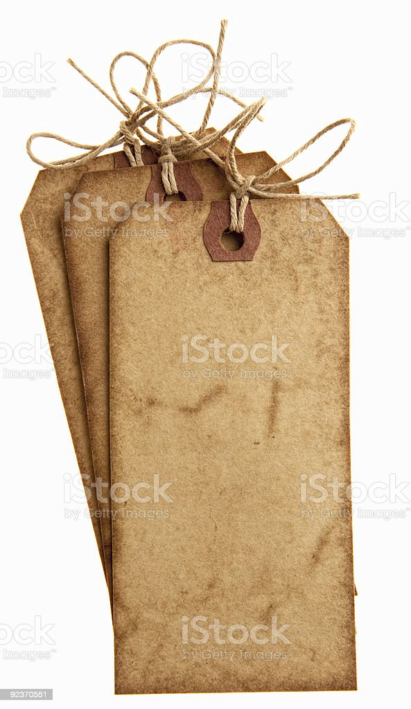 paper tags with bow string stacked royalty-free stock photo